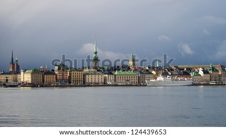 The old town in Stockholm with its nice seaside in a delightful light. Sweden