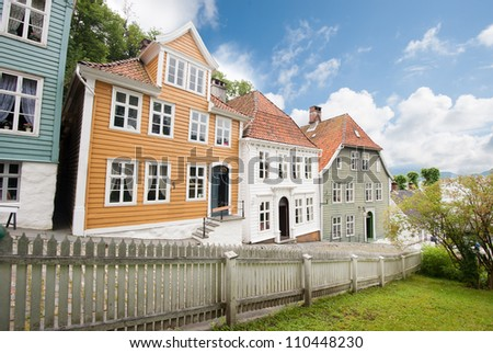 The old town of Bergen city in Norway - stock photo