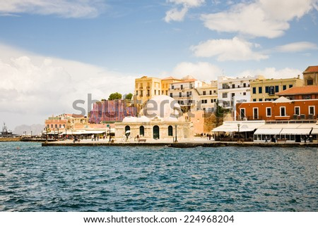 The old town of Chania, a tourist destination in Crete in Greece - stock photo