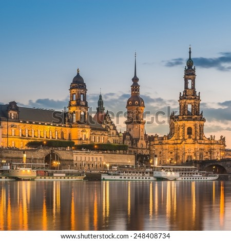 The old town of Dresden with the Hofkirche, Ständehaus and the Elbe River - stock photo