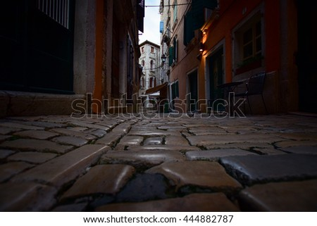 The old town of Rovinj, Croatia. Medieval street paved with the cobble stones.
