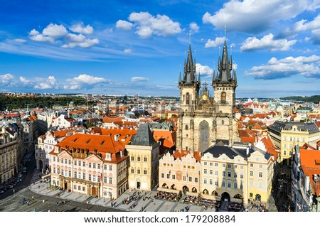 The Old Town Square in Prague, Czech Republic on a sunny day - stock photo