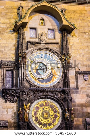 The Old Town Square with Astronomical Clock at winter night in the center of Prague City - stock photo