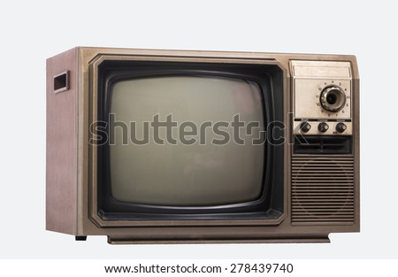 The old TV on the isolated with path - stock photo