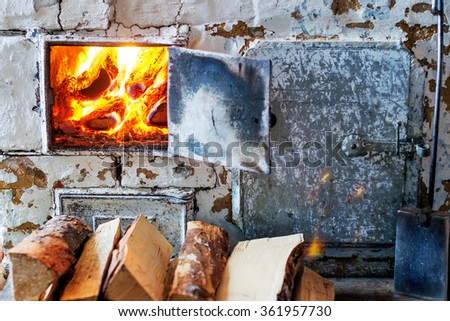 The old village oven in a rustic style. Shallow DOF - stock photo