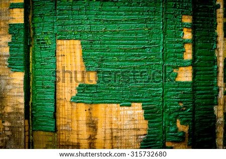 The old vintage wooden doors, green colour - stock photo