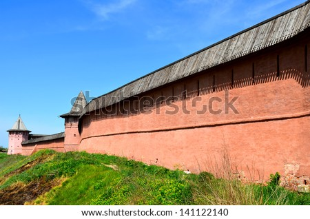 The old wall of the monastery of Saint Euthymius in Suzdal, Russia. The Golden Ring