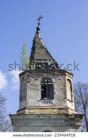 The old weathered church abandoned - stock photo