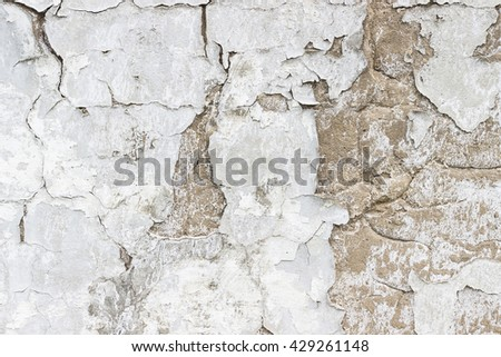 The old weathered white cement wall for design - stock photo