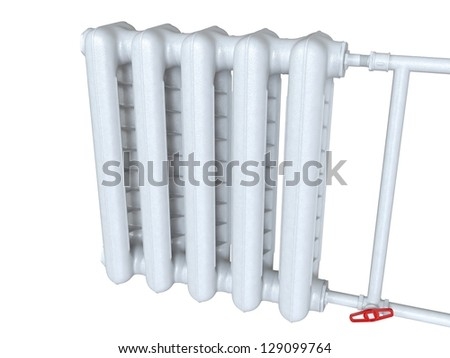 The old white heating radiator - stock photo