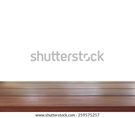 The Old wooddesk with white background