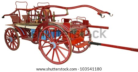 The old wooden fire truck on a white background - stock photo