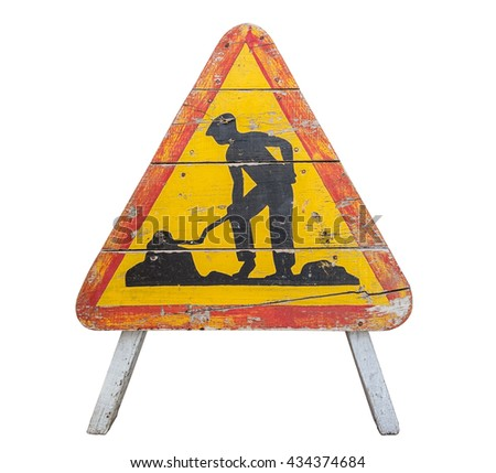 The old wooden road sign. Works on the road. - stock photo