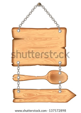 The old wooden sign with a spoon.Rasterized illustration. Vector version in my portfolio - stock photo