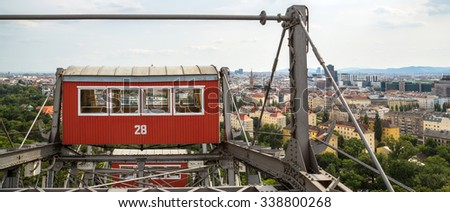 The oldest Ferris Wheel in Vienna, Austria. Prater park - stock photo
