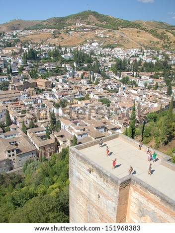 The oldest neighborhood of Granada from Alhambra, Andalusia, Spain