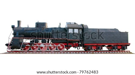 The oldest steam locomotive isolated on a white background