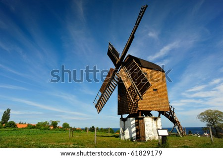 The oldest windmill on Bornholm island - stock photo