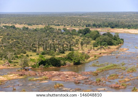 The Olifants River as seen from the Olifants rest camp, Kruger National Park, South Africa.
