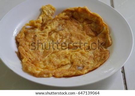 The Omelette number 4 fried with palm oil.