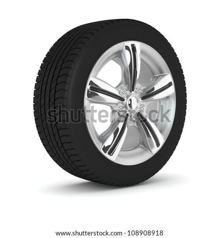 the one wheel isolated on white background - stock photo