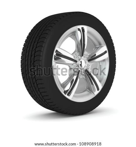 the one wheel isolated on white background - stock photo