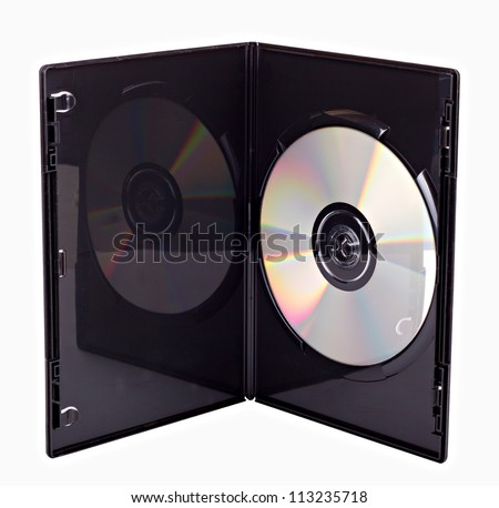 The open black DVD case with disk inside isolated - stock photo