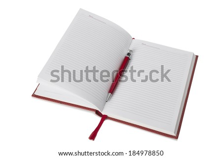 The open book and pen is on the white background - stock photo