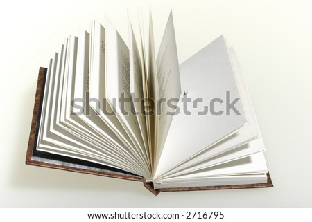 The open book and white background