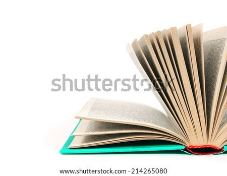 The open book. On a white background.
