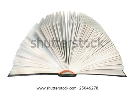 The open book on a white background.