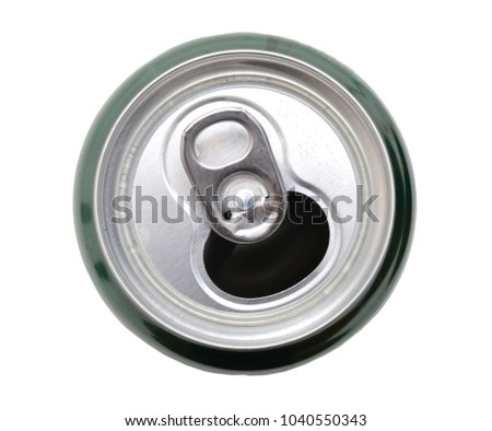 The open can of beer. Top view