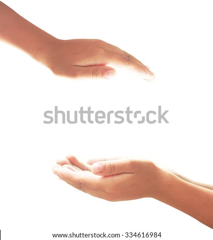 The open hands of children isolated on white background. Your objects here. - stock photo