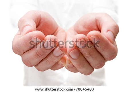 The open hands of man. Your objects here. - stock photo