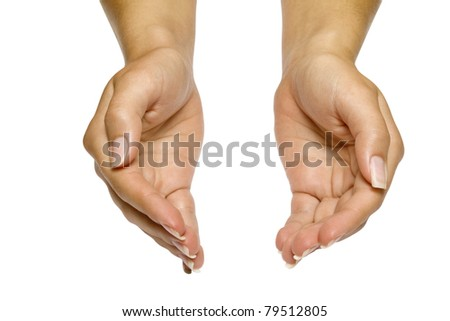 The open hands of woman - stock photo