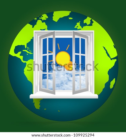 The Open Window to Blue Sky With The Light Bulb on The Earth for Idea Generated Concept - stock photo