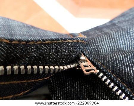 the open zipper pants. open trousers - stock photo