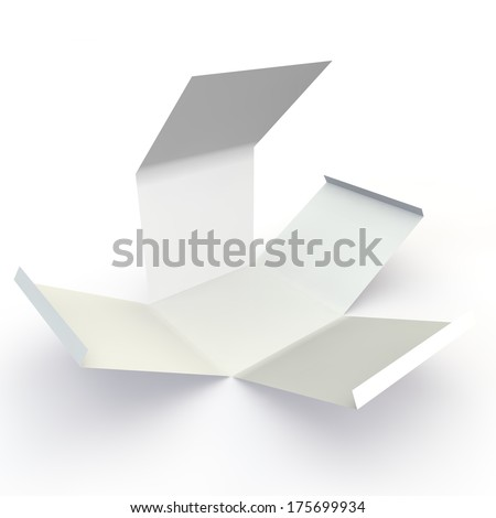 The opened white box on the isolated background