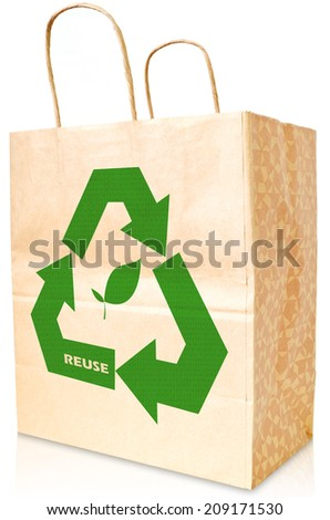 The opening brown blank paper bag with green recycle symbol on white background. - stock photo