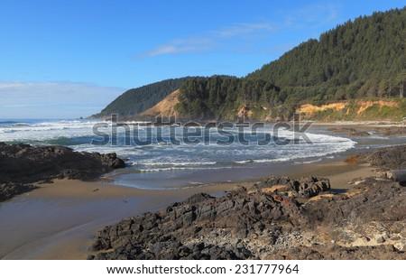 The Oregon Coast - Looking north near Devil's Churn, Oregon Coast Trail. - stock photo