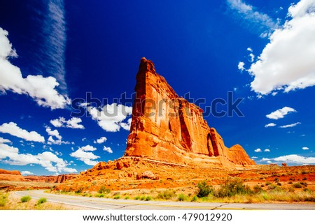 The Organ is an impressive sandstone fin located at Arches National Park, Utah, USA.