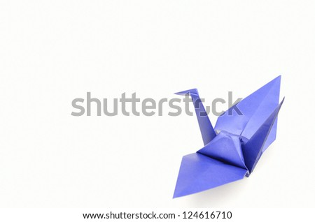 The Origami Crane isolated on a white background.