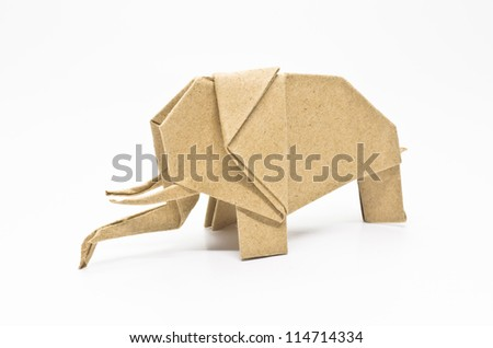 The origami elephant asian recycle paper, Isolated on white. - stock photo