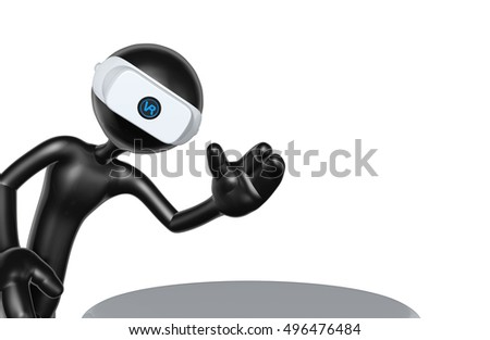 The Original 3D Character Illustration With Virtual Reality VR Glasses Headset Goggles Device