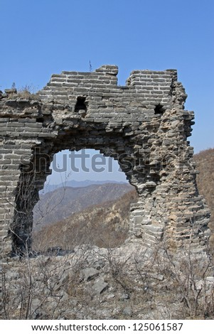the original ecology great wall in winter, desolate and rugged, north china.