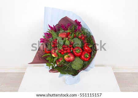 The original unusual edible bouquet of vegetables and fruits