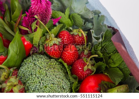 The original unusual edible bouquet of vegetables and fruits, close-up