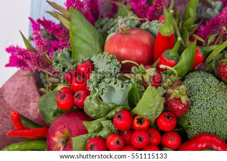 The original unusual edible bouquet of vegetables and fruits, closeup of briar
