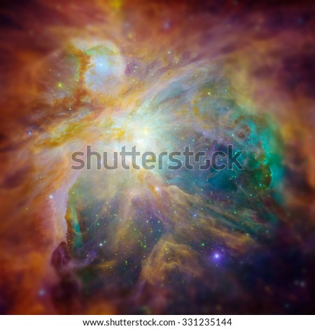 The Orion Nebula (Messier 42, M42, or NGC 1976) is a diffuse nebula situated in the constellation of Orion. Retouched hi-res image with DOF effects. Elements of this image furnished by NASA. - stock photo