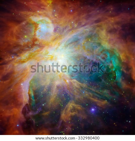 The Orion Nebula (Messier 42, M42, or NGC 1976) is a diffuse nebula situated in the constellation of Orion. Retouched hi-res version with DOF effect. Elements of this image furnished by NASA. - stock photo